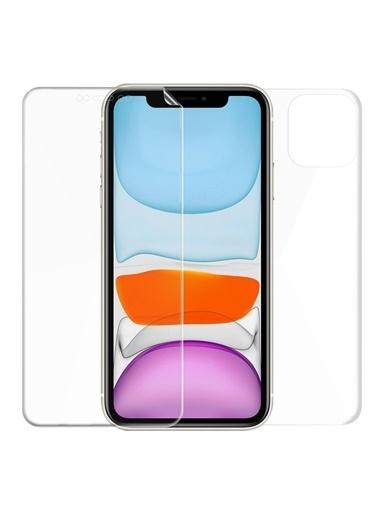 Microsonic Apple iPhone 11 (6.1'') Ön + Arka Kavisler Dahil Tam Ekran Kaplayıcı Film Renksiz
